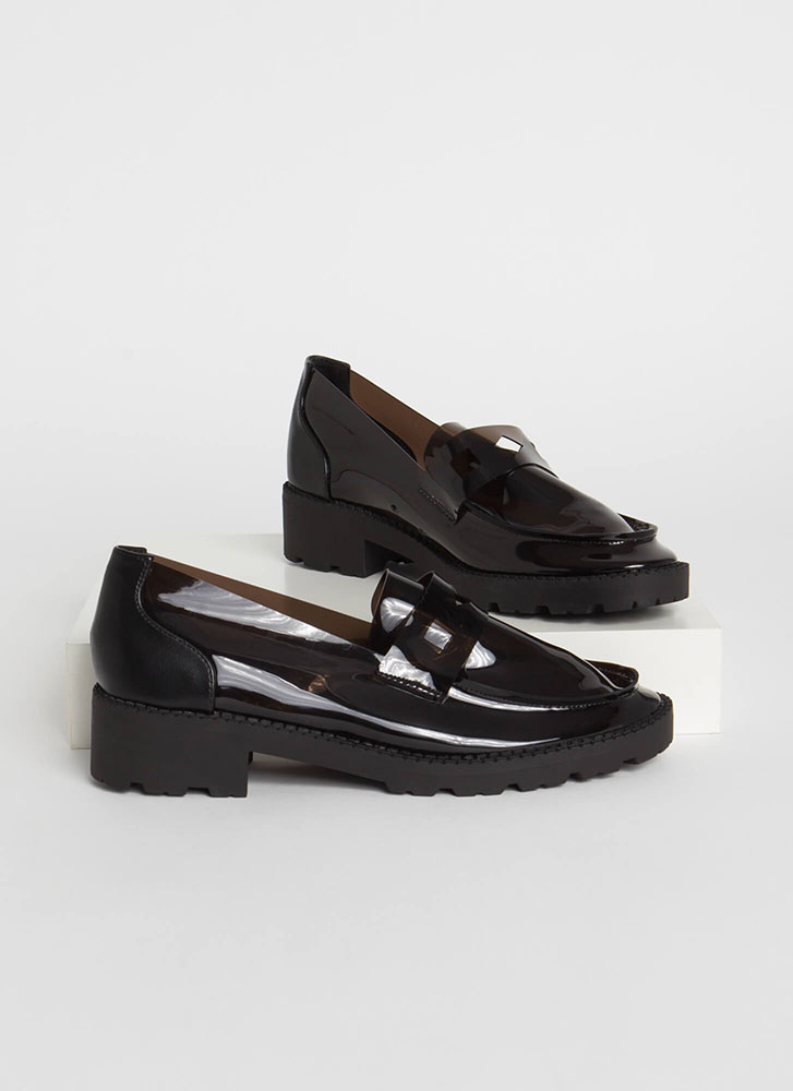 Clearly Chic Block Heel Loafers BLACK