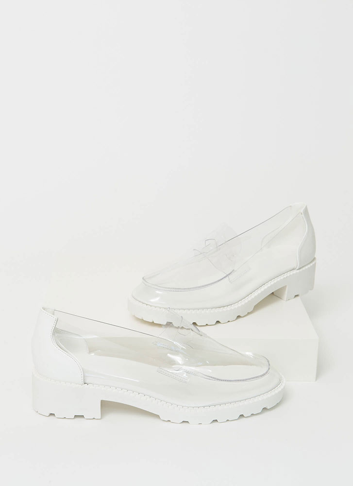 Clearly Chic Block Heel Loafers CLEAR