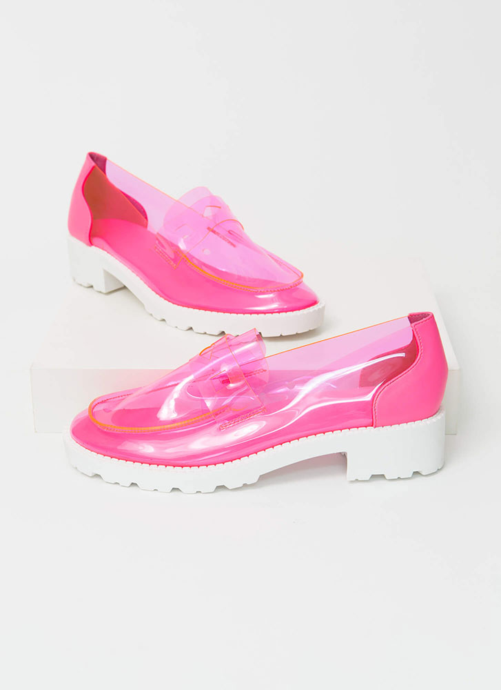 Clearly Chic Block Heel Loafers PINK