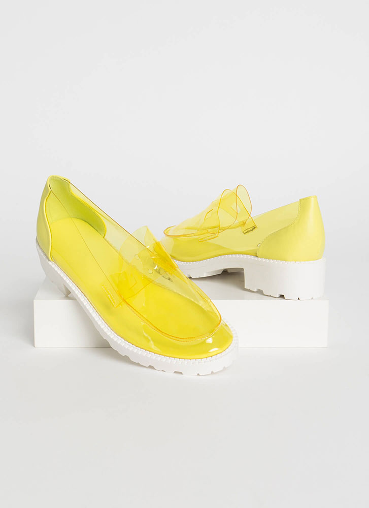 Clearly Chic Block Heel Loafers YELLOW