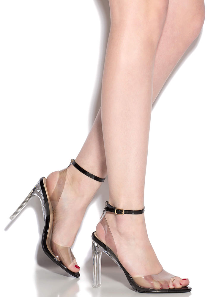 Make Things Clear Strappy Peep-Toe Heels BLACK