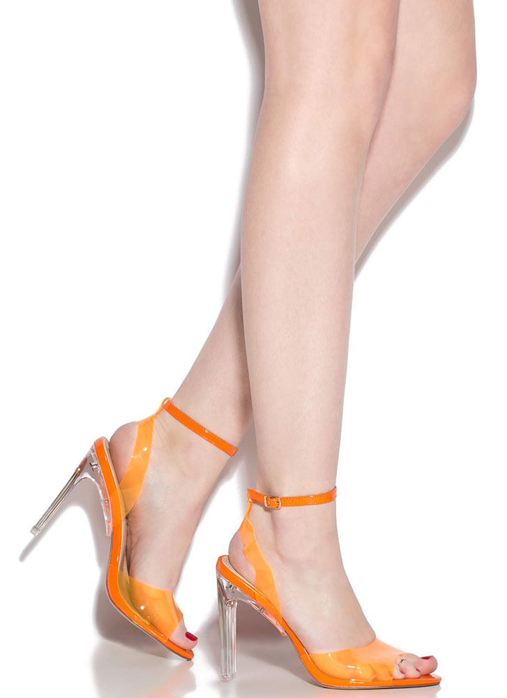 Make Things Clear Strappy Peep-Toe Heels ORANGE