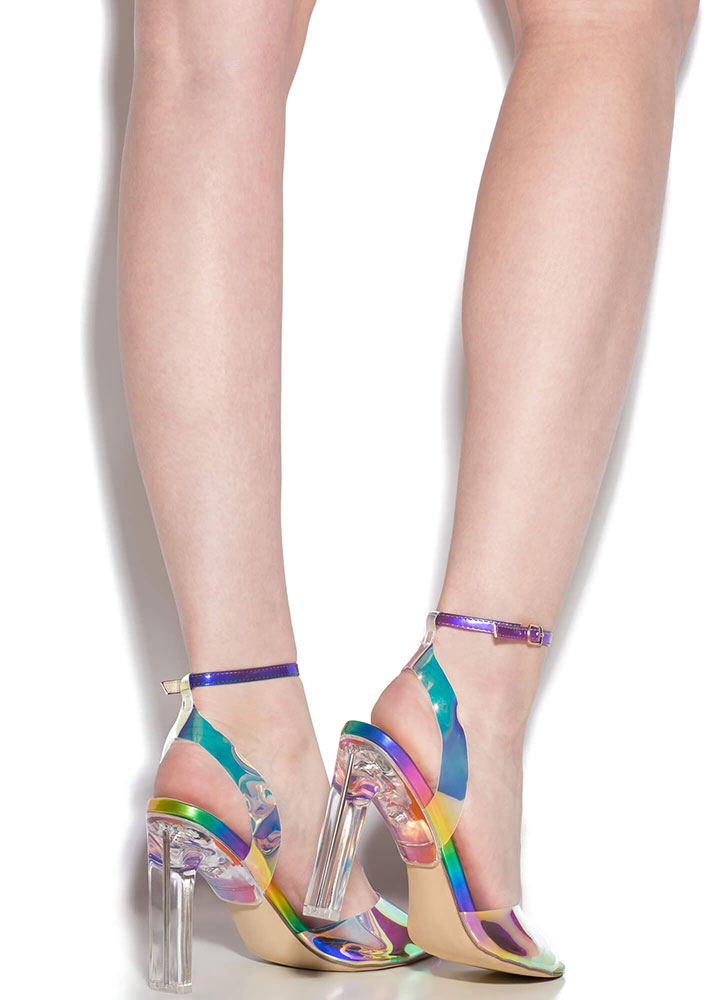Make Things Clear Strappy Peep-Toe Heels RAINBOW