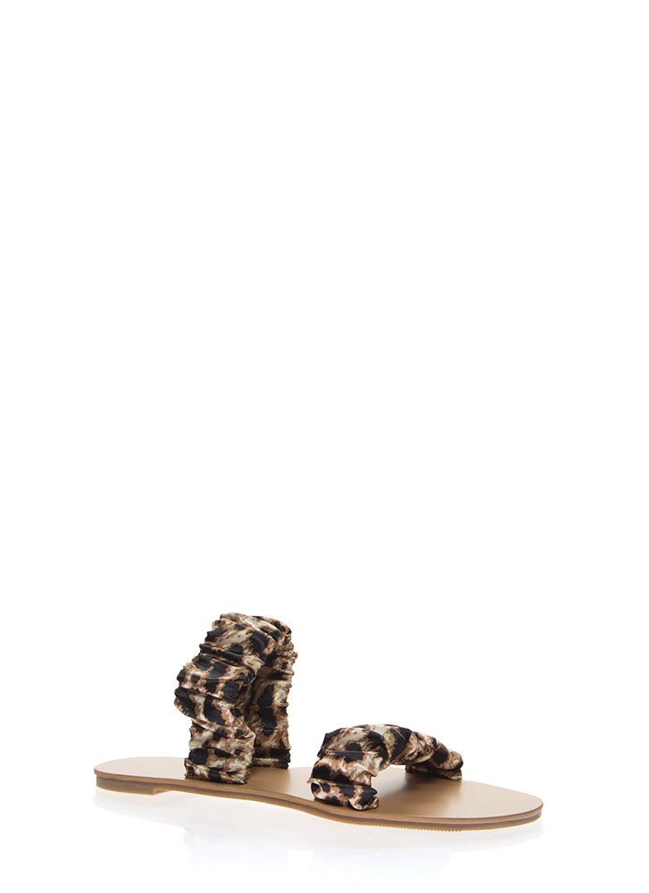 It's Scrunch Time Satin Slide Sandals LEOPARD