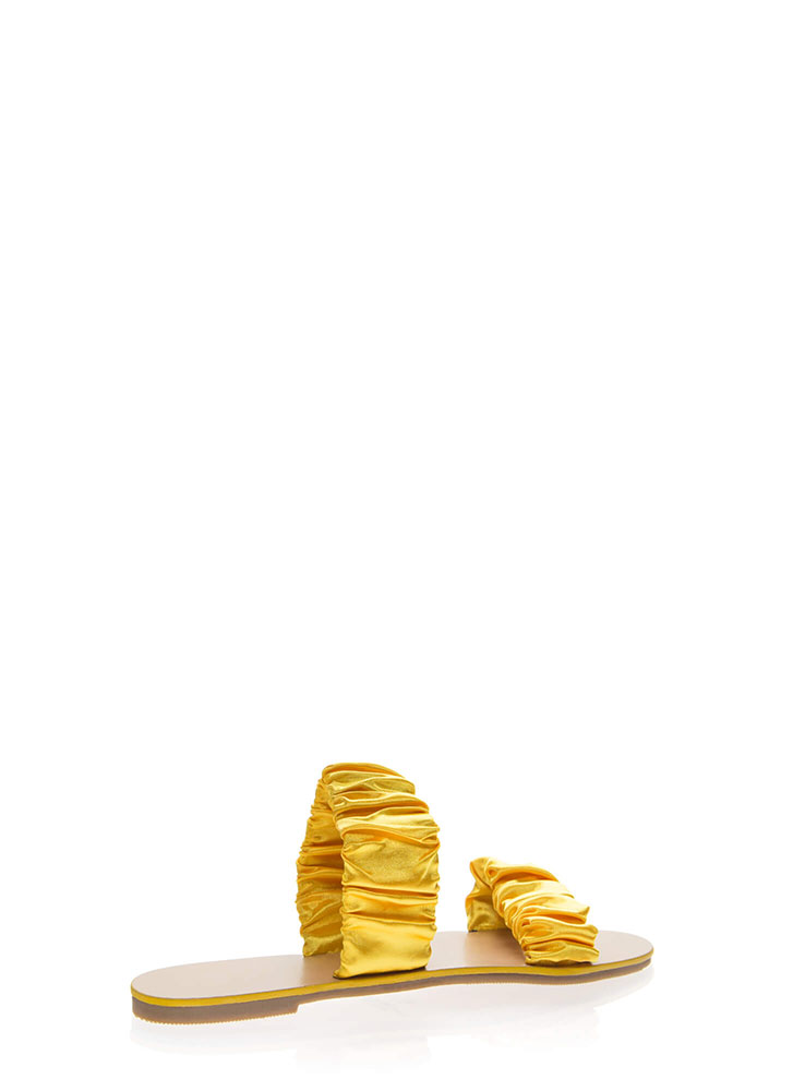 It's Scrunch Time Satin Slide Sandals YELLOW
