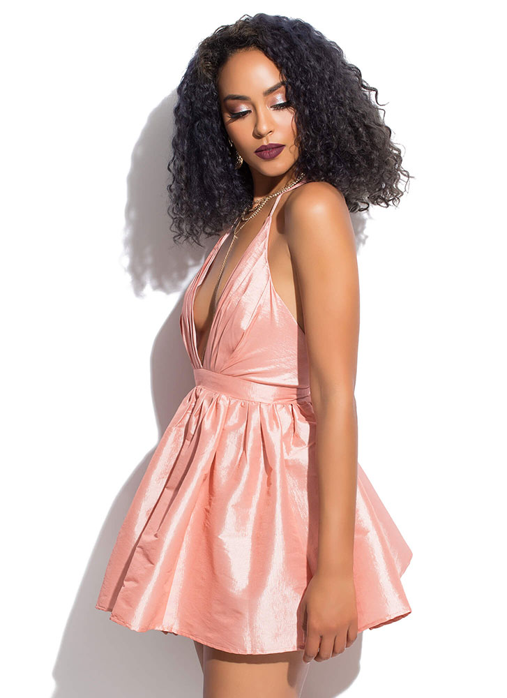 Full Out Plunging Flared Minidress BLUSH