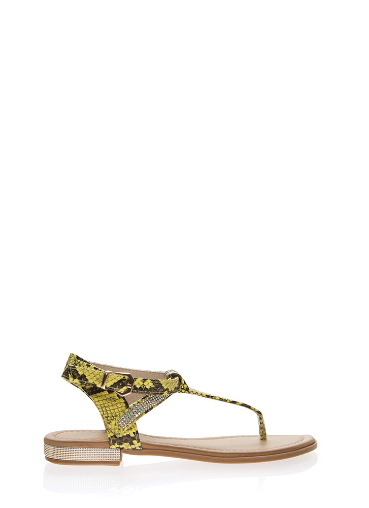 Snake Charming Sparkly T-Strap Sandals YELLOW