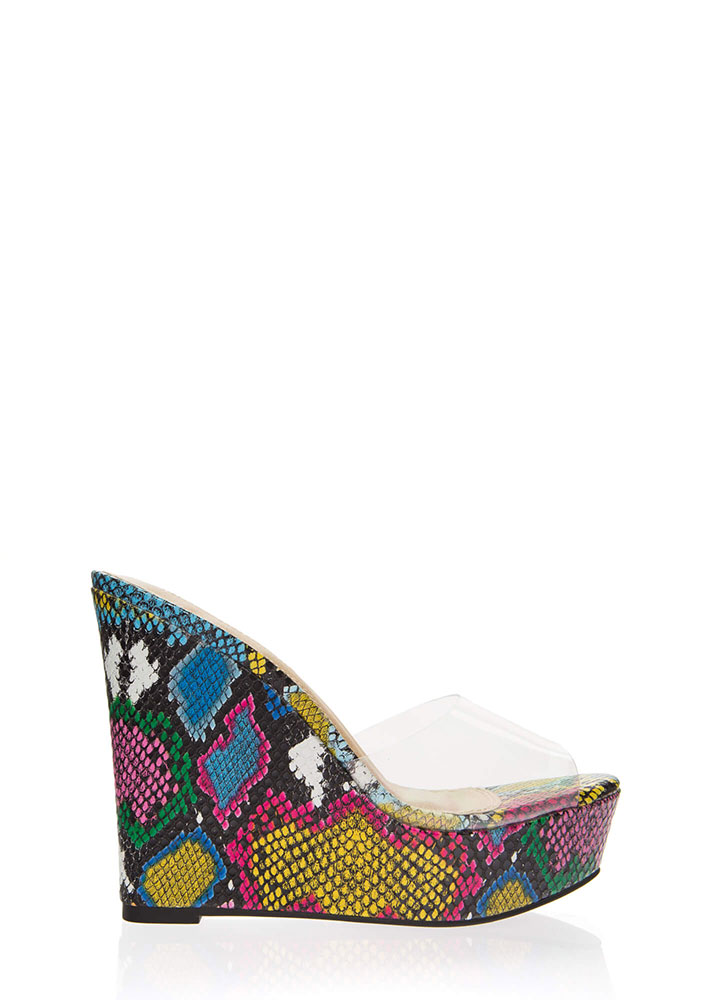 Clearly Must-Have Snake Print Wedges MULTI