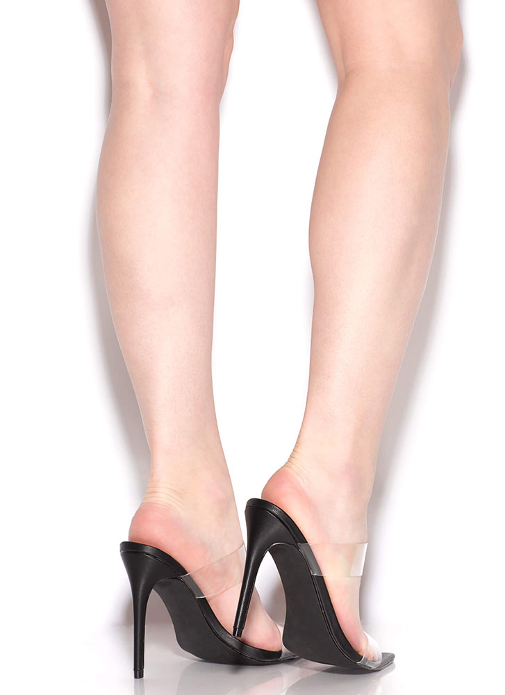 I See Right Thru You Clear Strap Heels BLACK