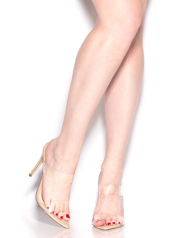 I See Right Thru You Clear Strap Heels NUDE