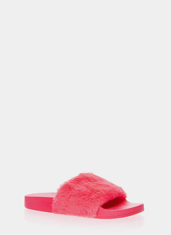 Soft On You Faux Fur Slide Sandals NEONPINK