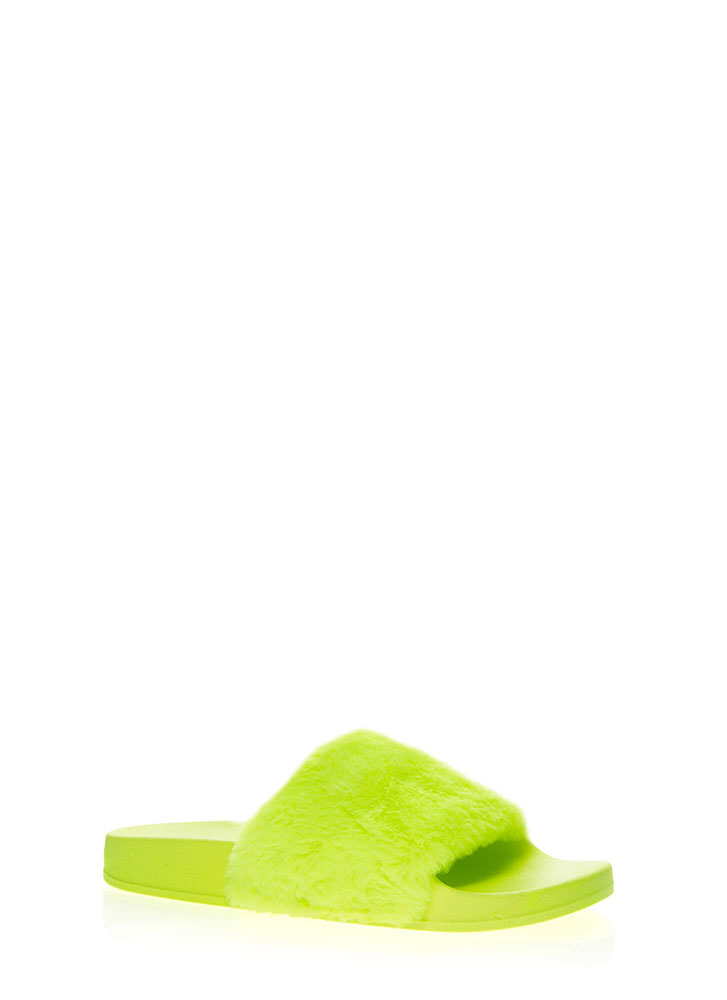 Soft On You Faux Fur Slide Sandals NEONYELLOW