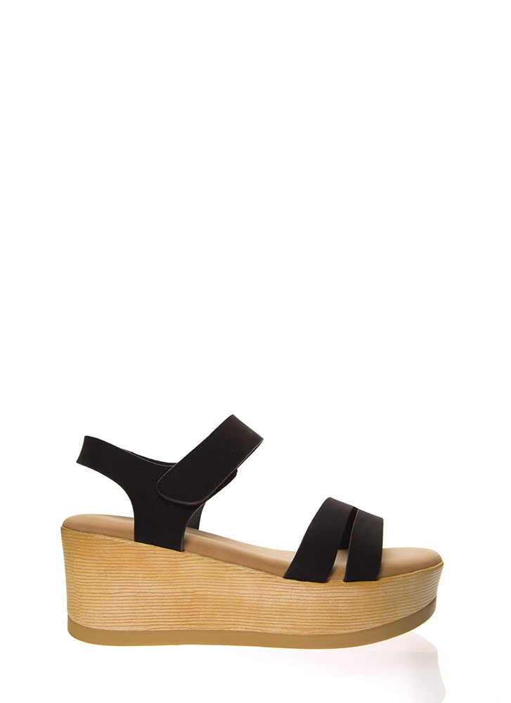 Outing Strappy Velcro Platform Wedges BLACK
