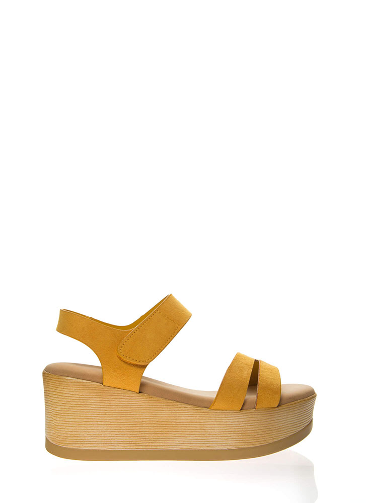 Outing Strappy Velcro Platform Wedges MARIGOLD