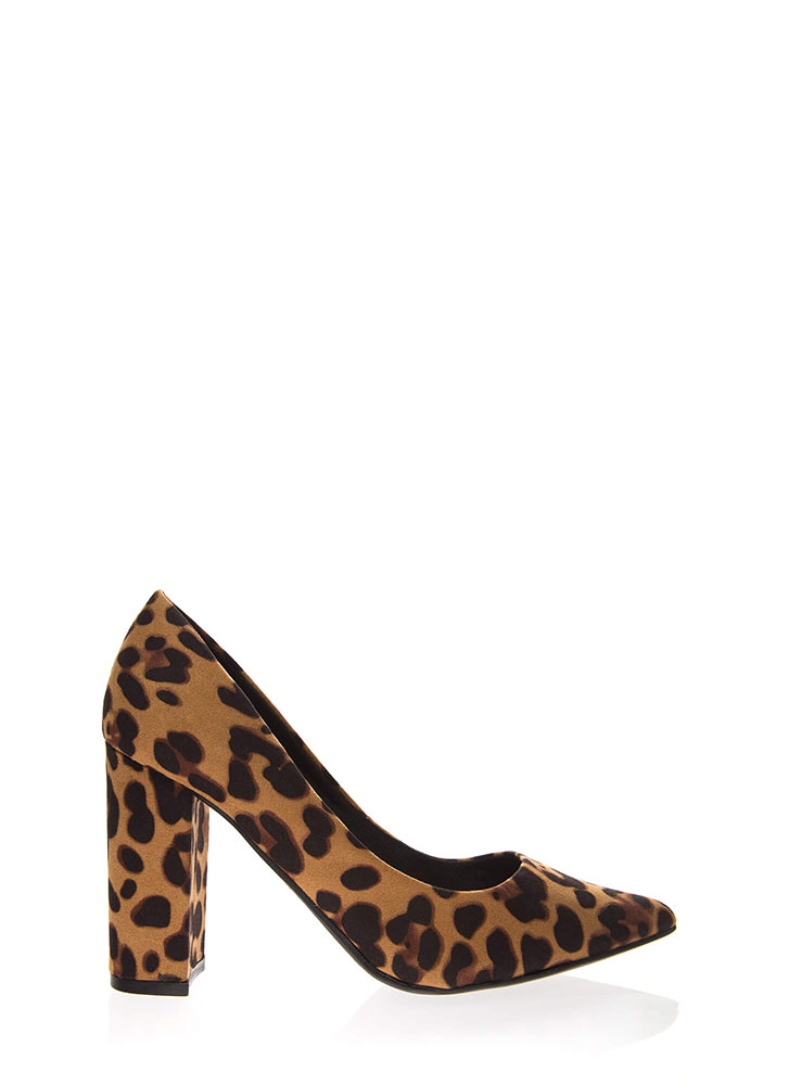 Prove My Point Chunky Heel Pumps LEOPARD