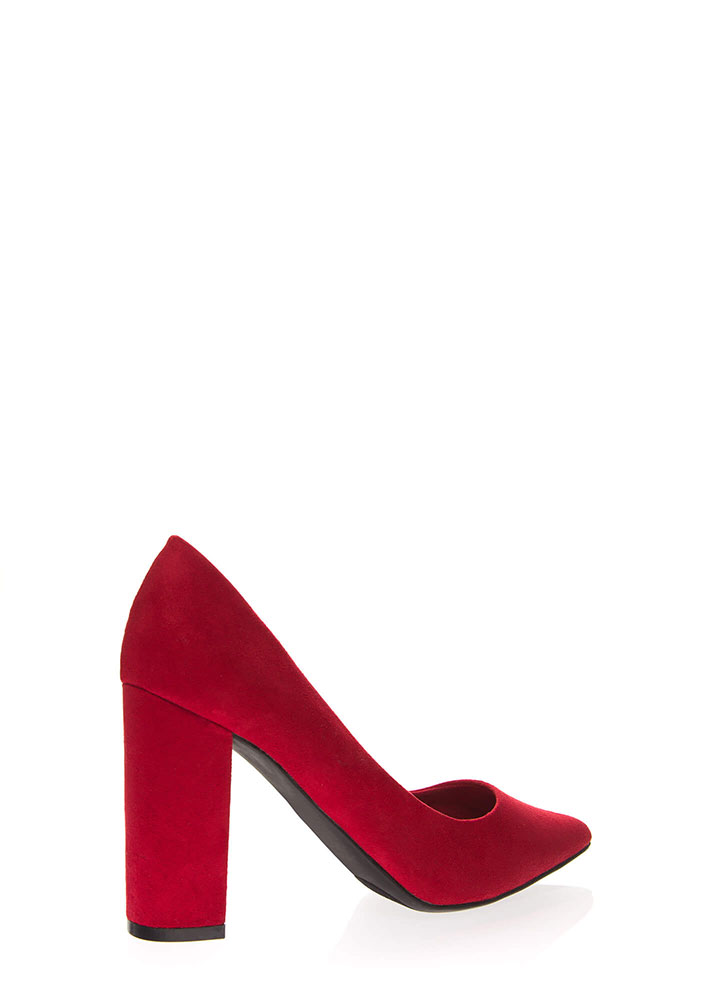 Prove My Point Chunky Heel Pumps RED