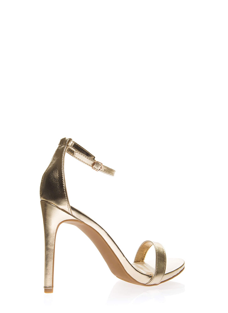 Favorite Metallic Ankle Strap Heels GOLD