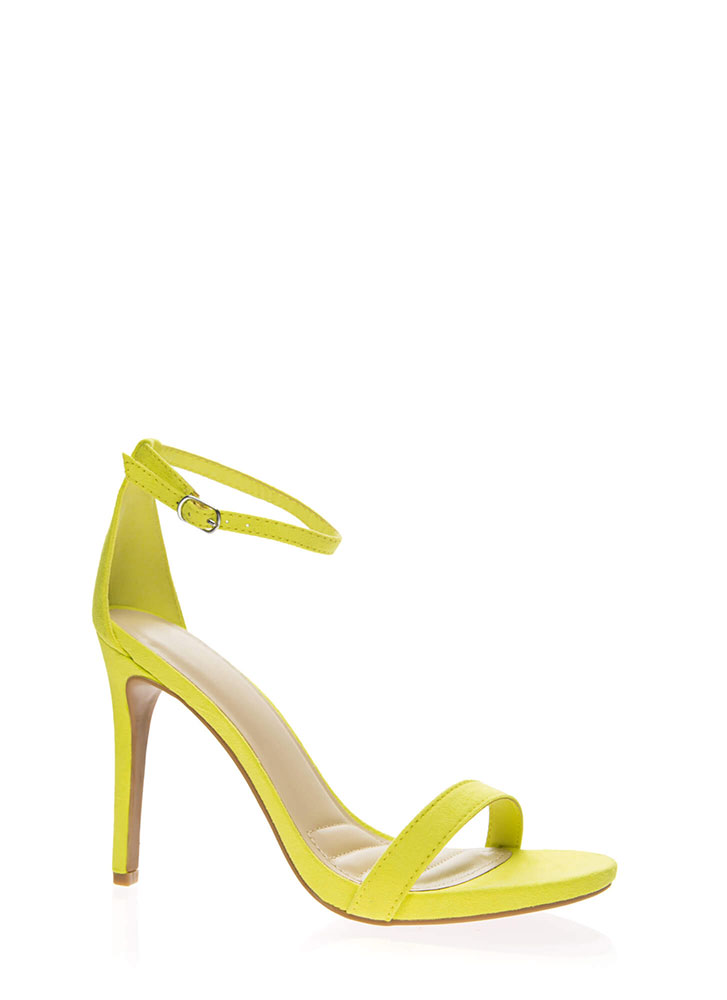 Favorite Faux Suede Ankle Strap Heels NEONYELLOW