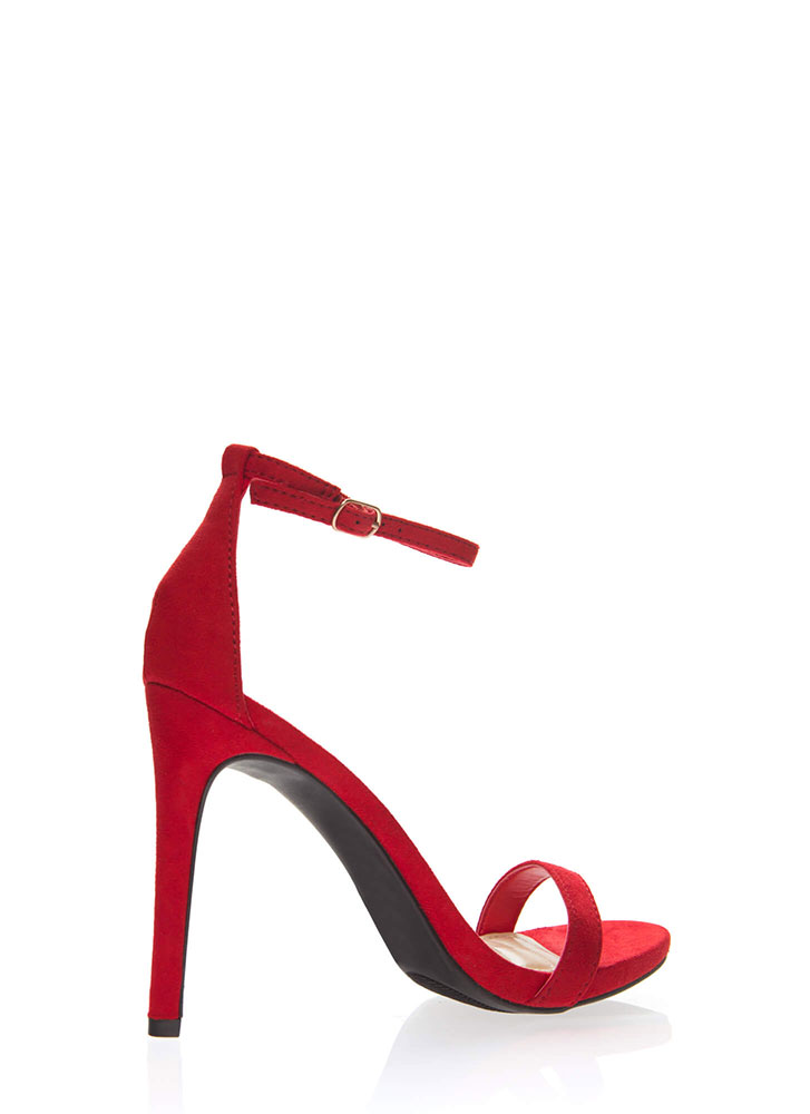 Favorite Faux Suede Ankle Strap Heels RED