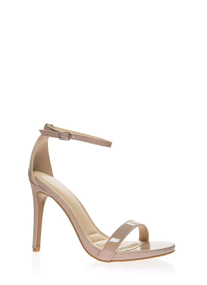 Favorite Faux Patent Ankle Strap Heels NUDE