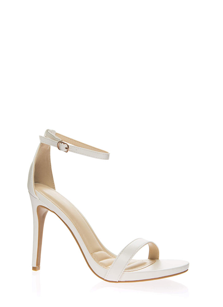 Favorite Faux Leather Ankle Strap Heels WHITE
