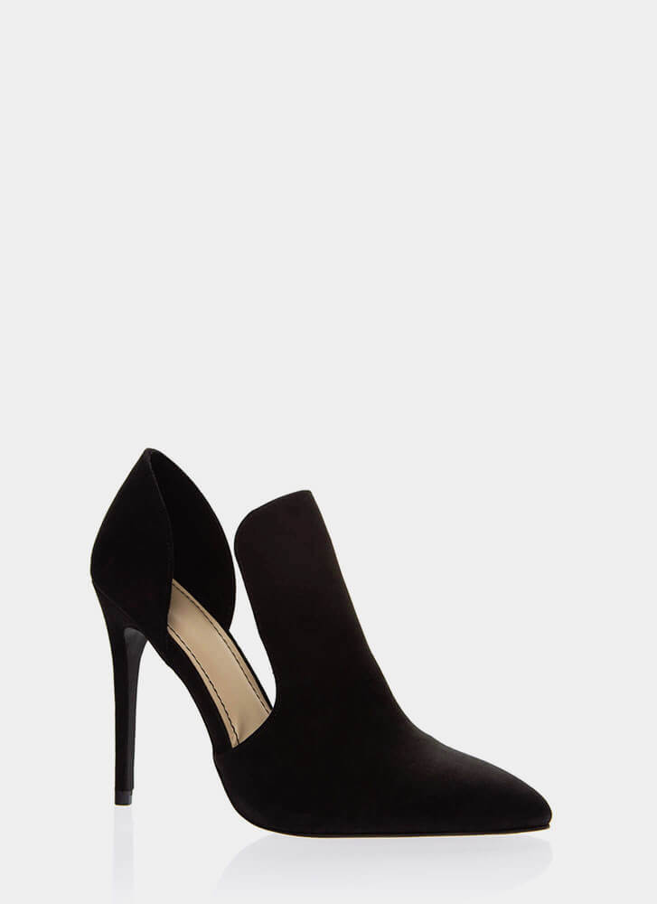 Cut-Out For This Pointy Faux Suede Heels BLACK