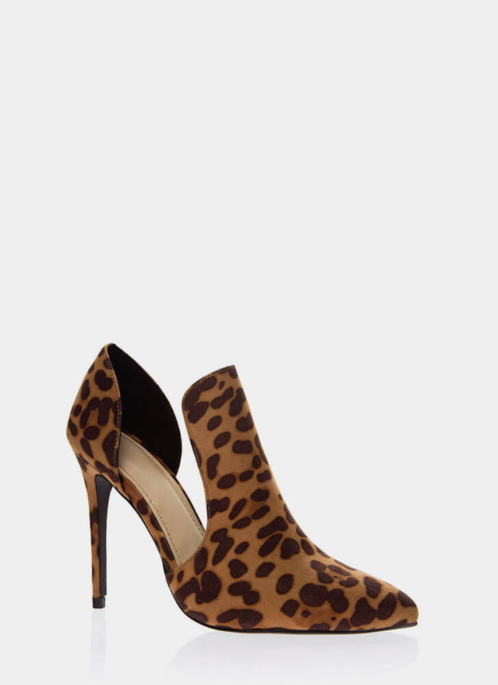 Cut-Out For This Pointy Faux Suede Heels LEOPARD