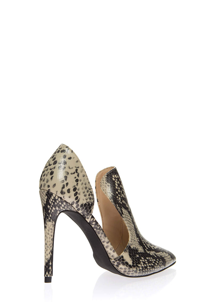 Cut-Out For This Pointy Faux Snake Heels BLACK