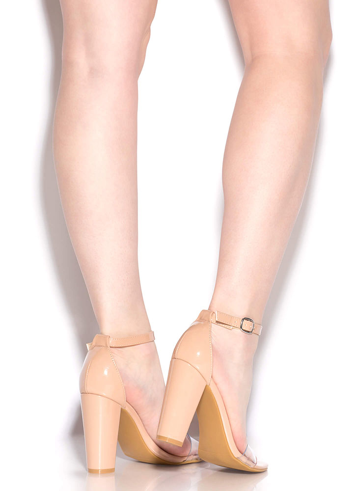 Steer Clear Chunky Faux Patent Heels NUDE