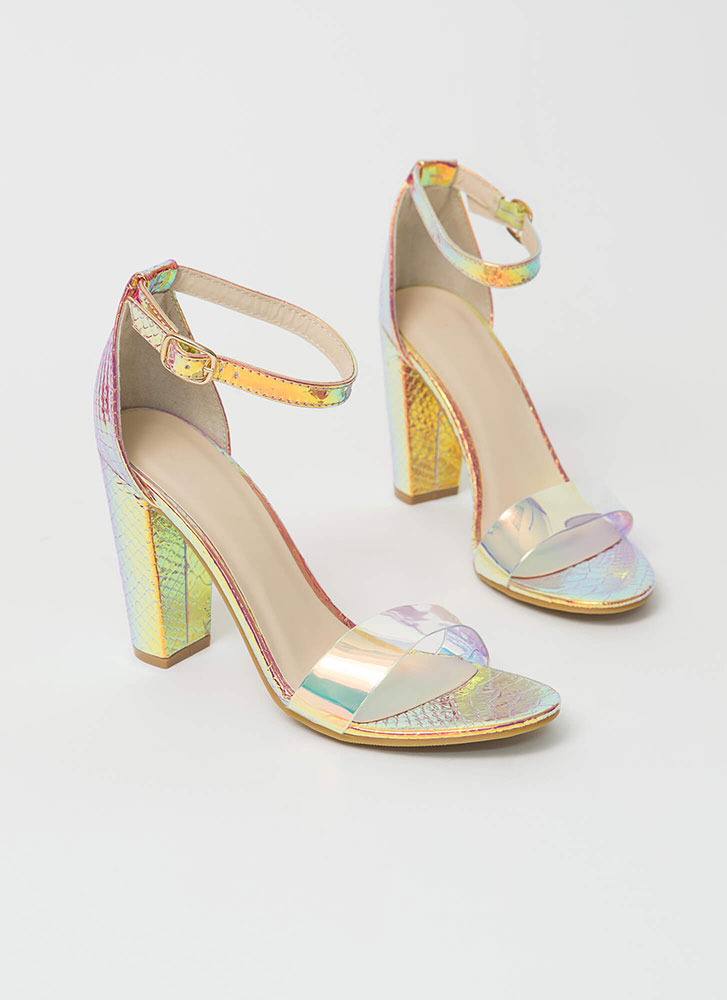Steer Clear Chunky Faux Snake Heels IRIDESCENT