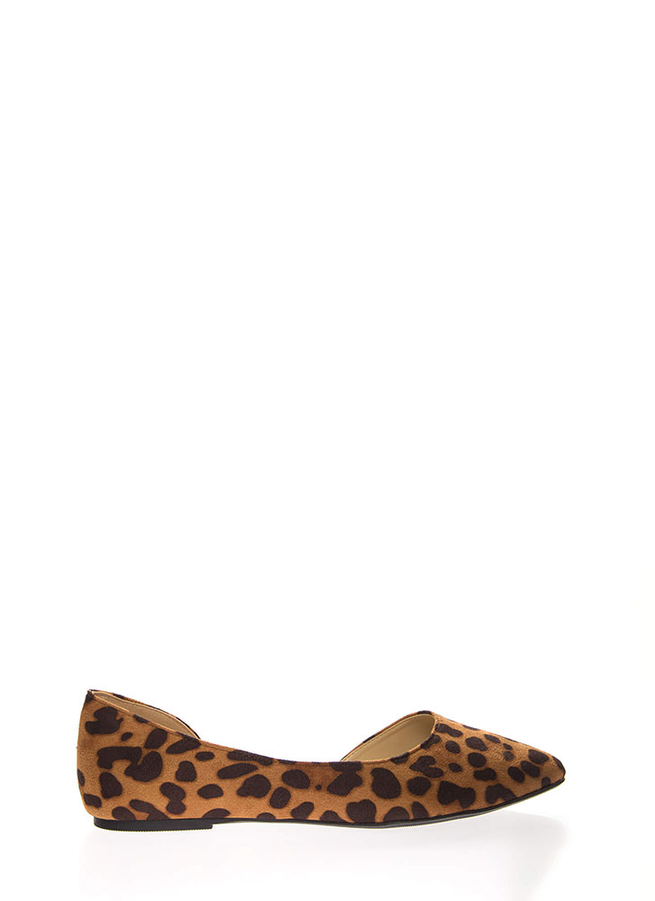 Living For Leopard Side Cut-Out Flats LEOPARD