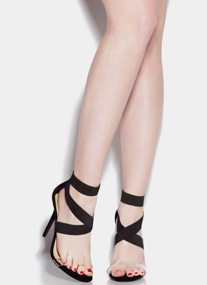 Clear The Air With My X's Strappy Heels BLACK