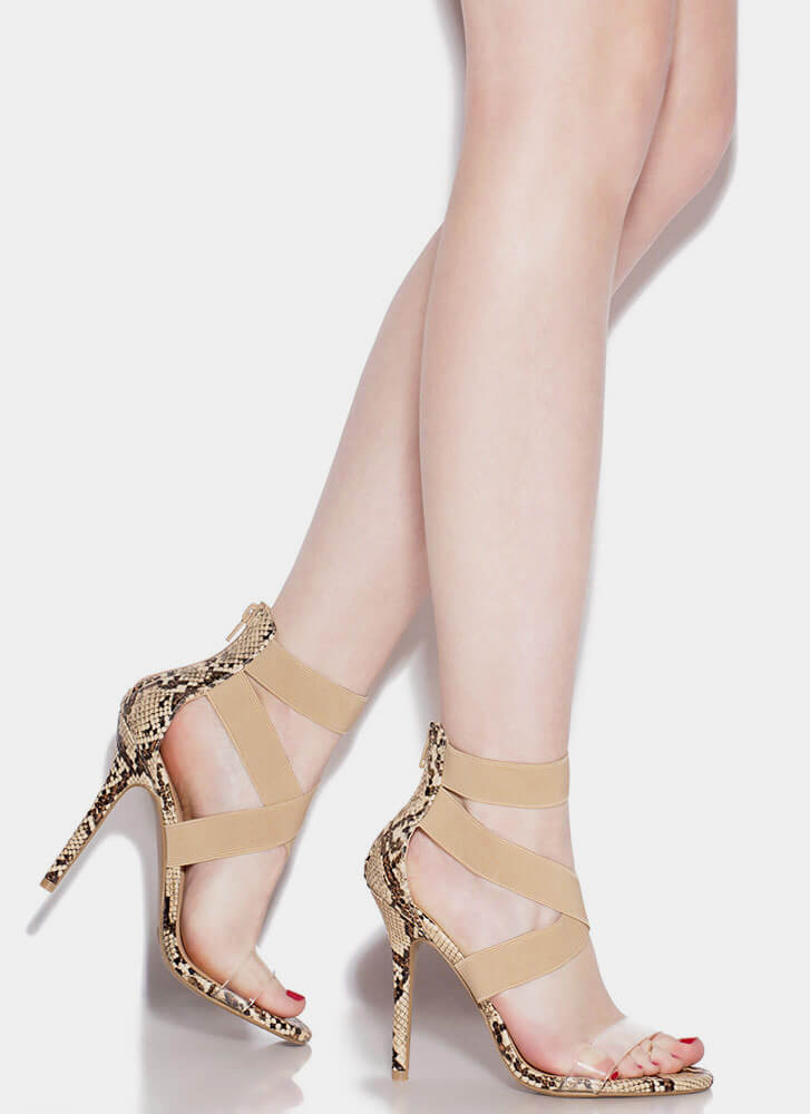 Clear The Air With My X's Strappy Heels NATURAL