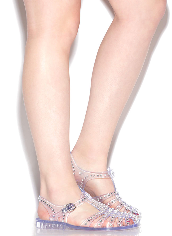 My Childhood Jam Jeweled Jelly Sandals CLEAR