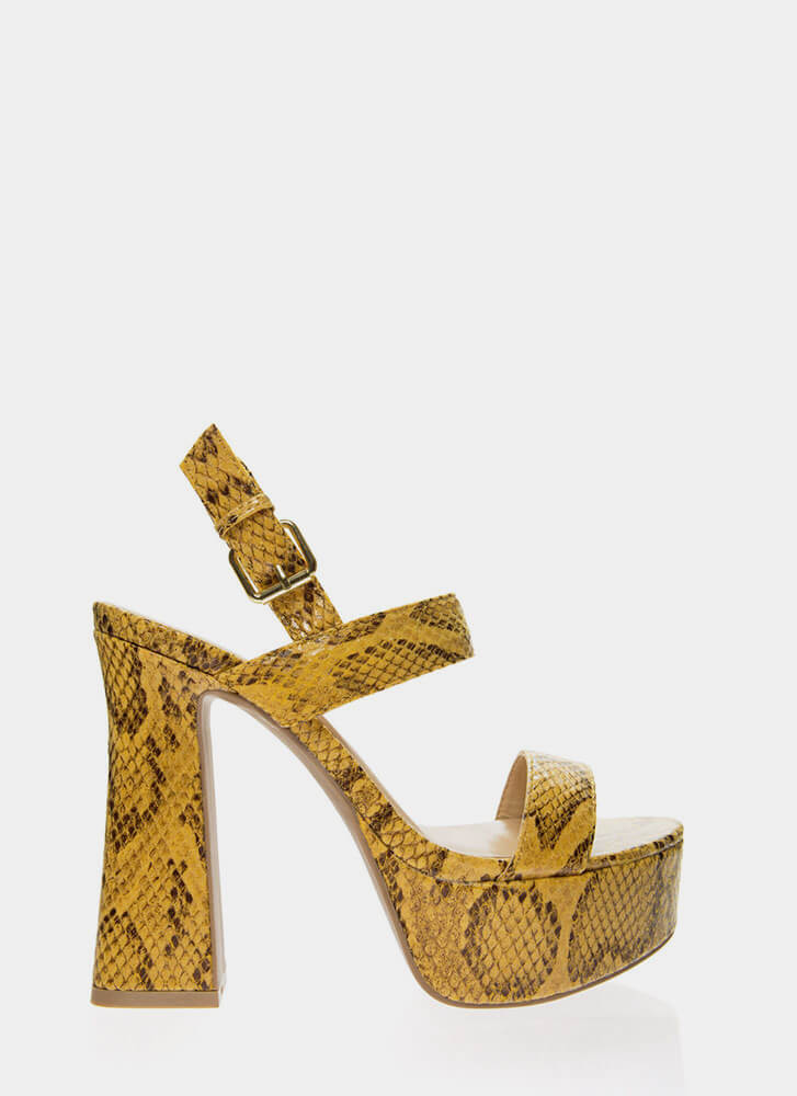 Snake Up Your Mind Retro Platform Heels YELLOW