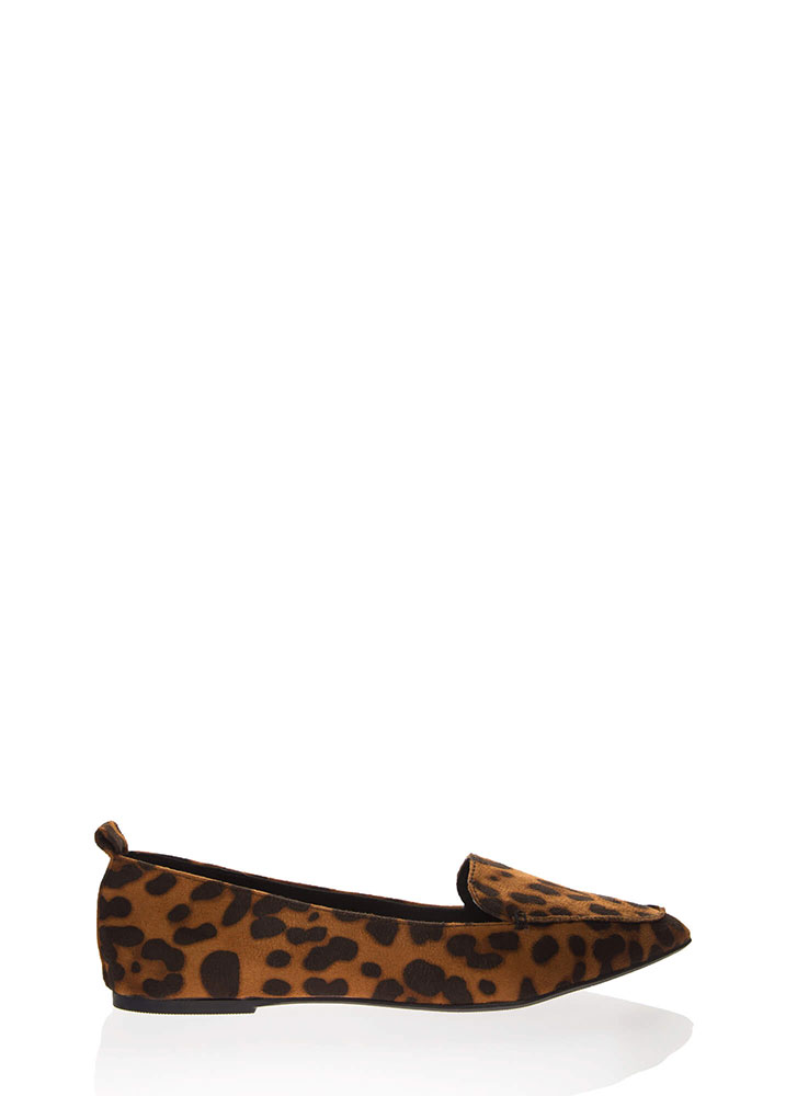 Living For Leopard Pointy Smoking Flats LEOPARD