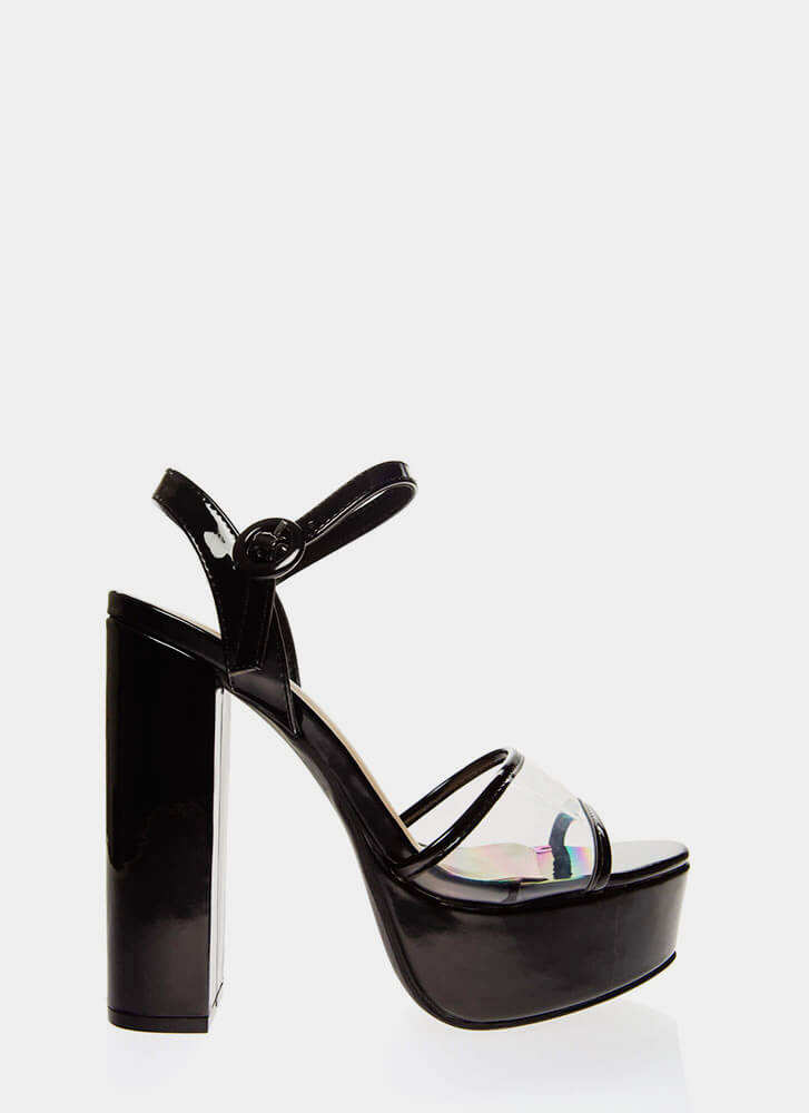 I'm In The Clear Chunky Platform Heels BLACK