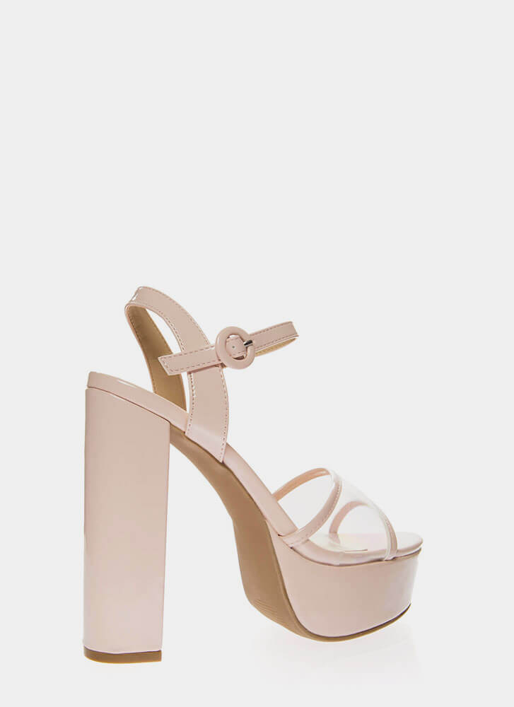I'm In The Clear Chunky Platform Heels NUDE