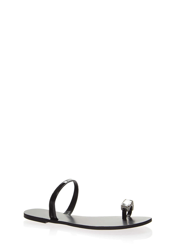 Put A Ring On It Faux Jewel Sandals BLACK