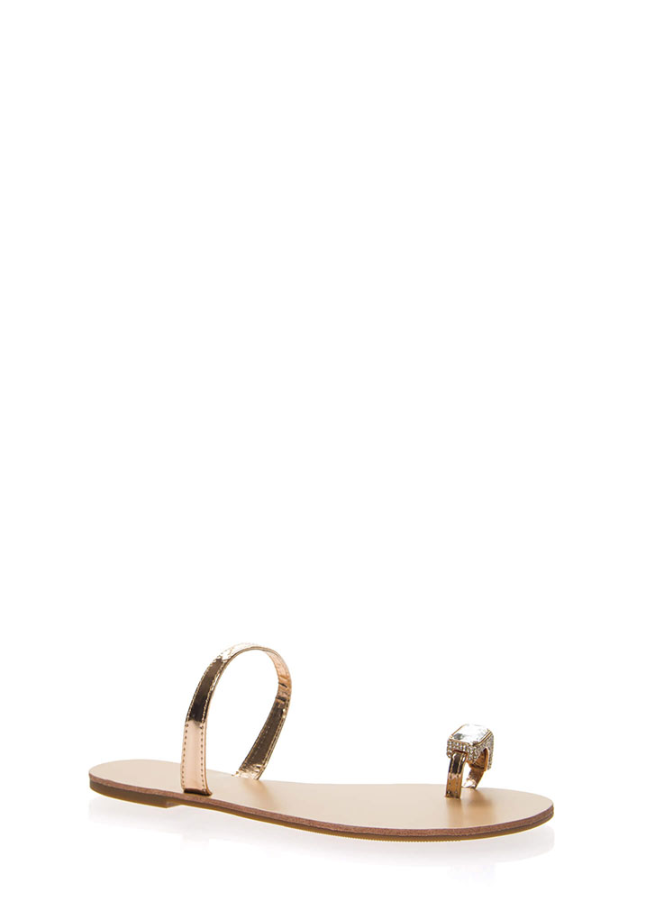 Put A Ring On It Faux Jewel Sandals ROSEGOLD