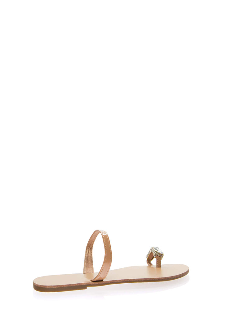 Put A Ring On It Faux Jewel Sandals TAUPE