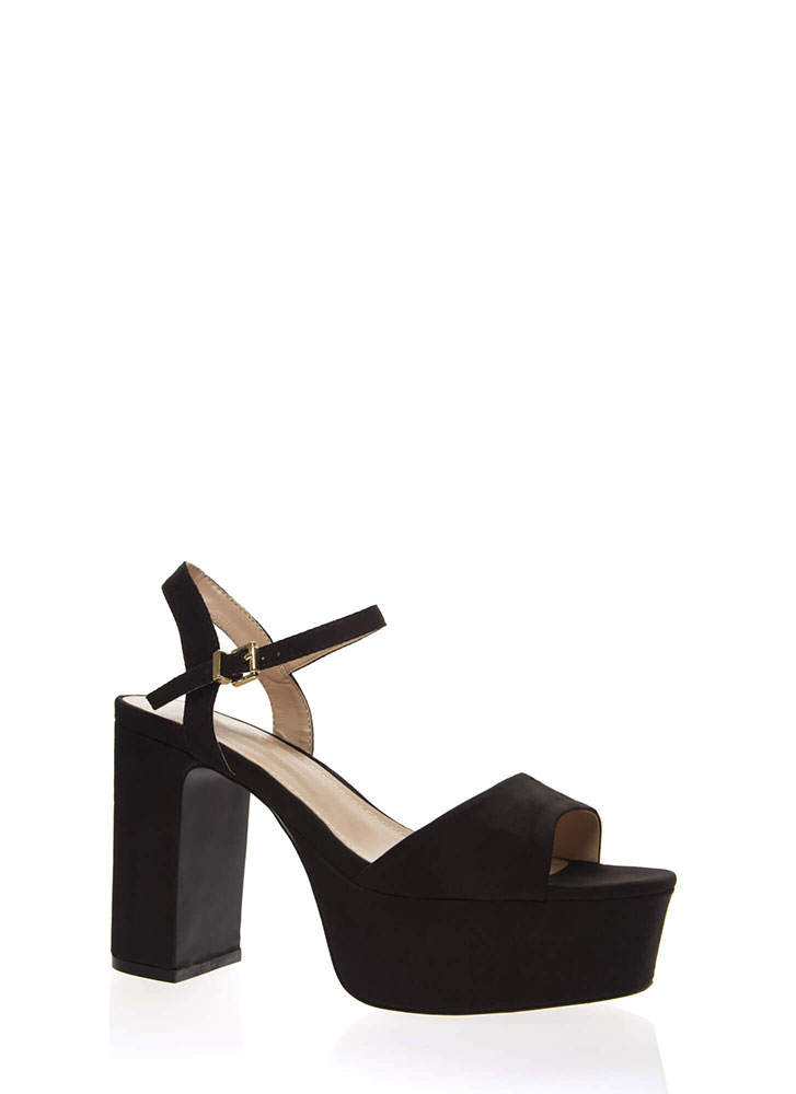 Really Into Retro Chunky Platform Heels BLACK