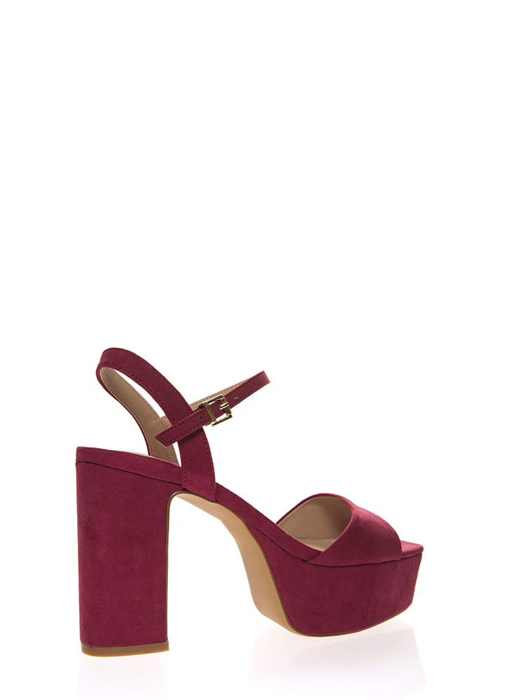 Really Into Retro Chunky Platform Heels BURGUNDY