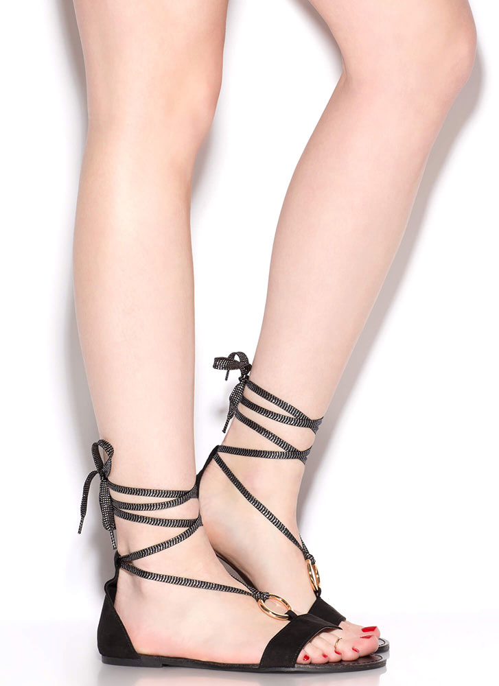 Ring Me Up Sparkly Lace-Up Sandals BLACK