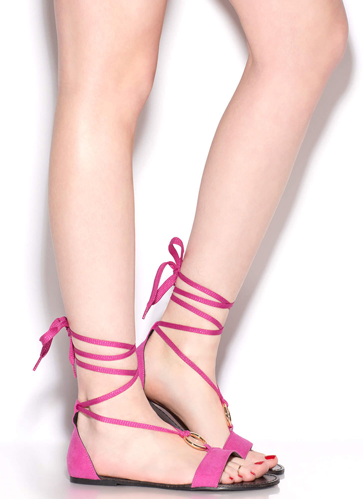 Ring Me Up Sparkly Lace-Up Sandals FUCHSIA