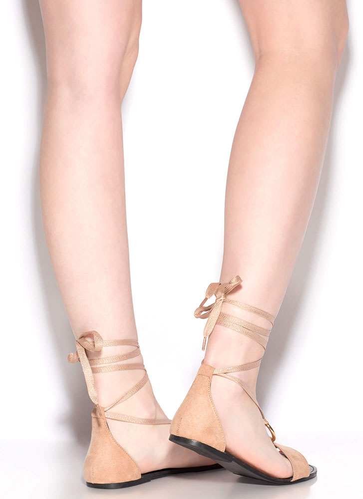 Ring Me Up Sparkly Lace-Up Sandals TAUPE