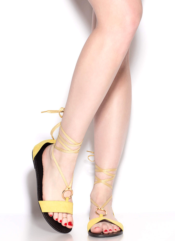 Ring Me Up Sparkly Lace-Up Sandals YELLOW