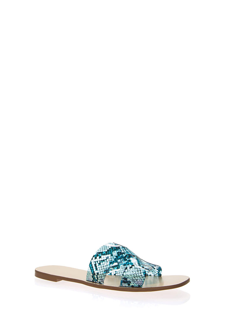 Clearly Cool Snake Print Slide Sandals BLUE