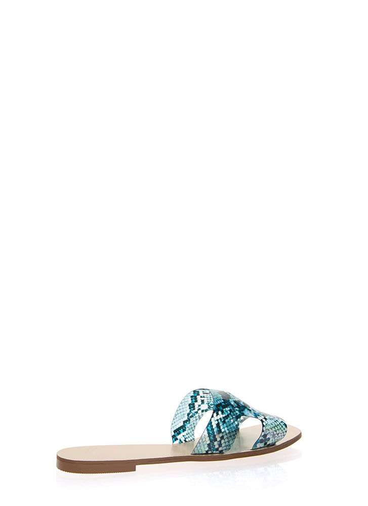 Clearly Cool Snake Print Slide Sandals BLUE (Final Sale)