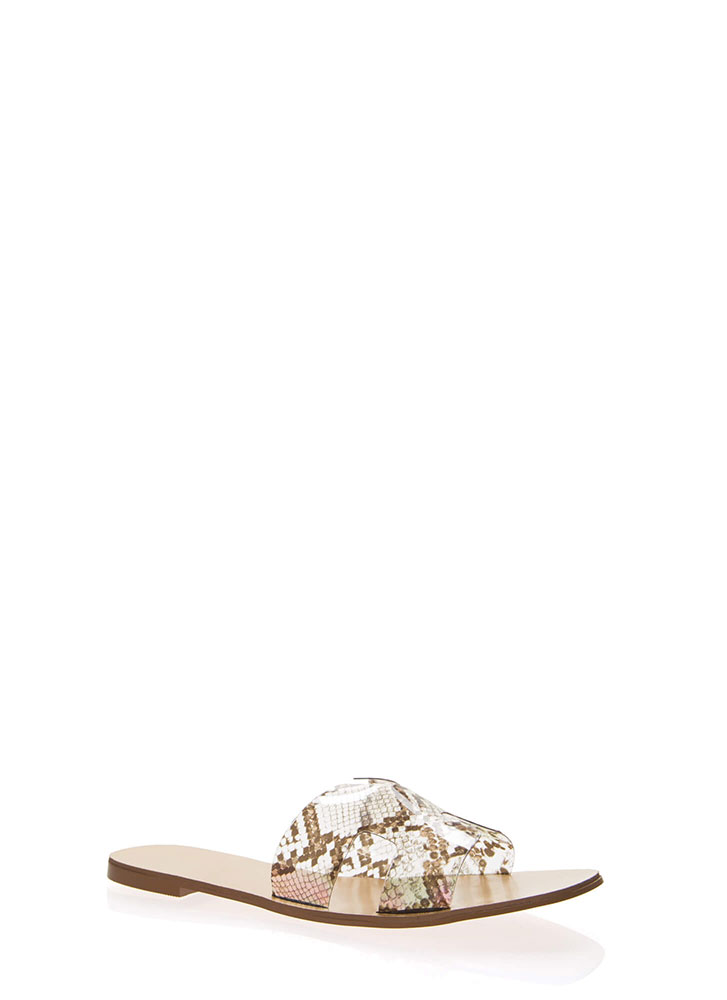 Clearly Cool Snake Print Slide Sandals TAN